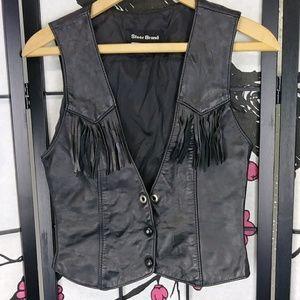 Vintage Fringed Leather Boho Vest Snap Cropped Low
